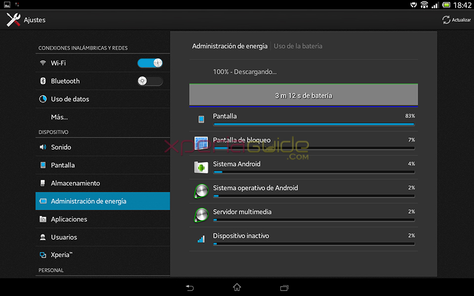 Battery screenshot - Xperia Tablet Z SGP321 Android 4.2.2 10.3.1.A.0.244 firmware