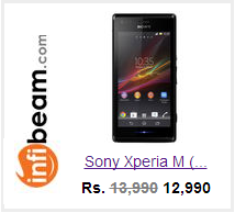 Buy Xperia M from Infibeam at Rs 12990