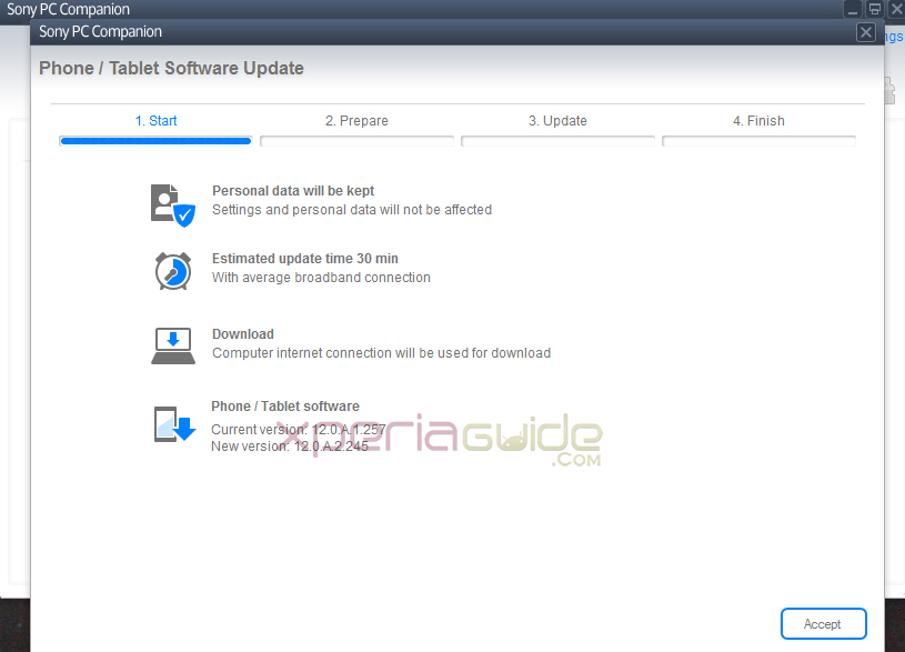 Download Xperia SP C5302 Android 4.1.2 12.0.A.2.245 firmware via PC Companion