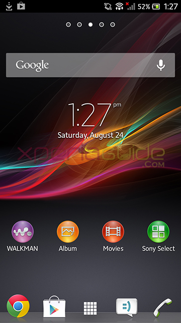 Home Screen of Xperia S 6.2.B.1.96 firmware