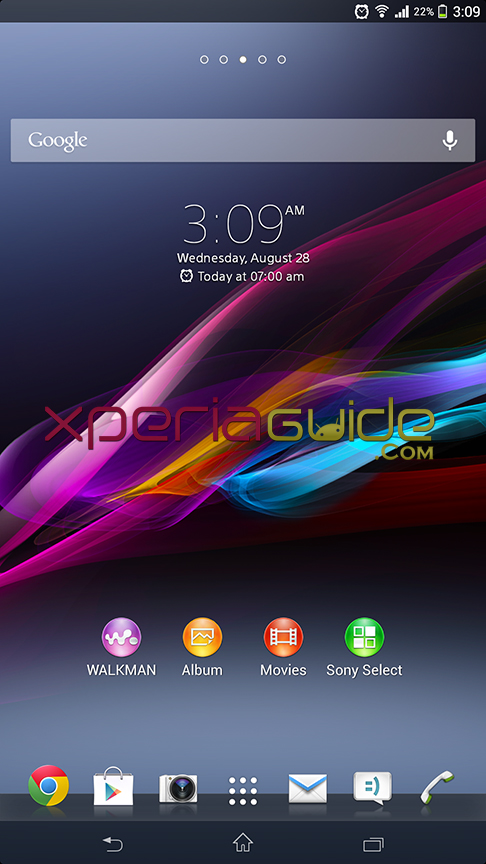 Home screen of Xperia Z Ultra C6802 14.1.B.1.510 firmware