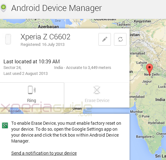 How to Track stolen or lost Xperia Z  Xperia Phone via Android Device Manager app
