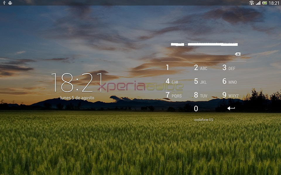 Lock Screen Screenshot - Xperia Tablet Z SGP321 Android 4.2.2 10.3.1.A.0.244 firmware