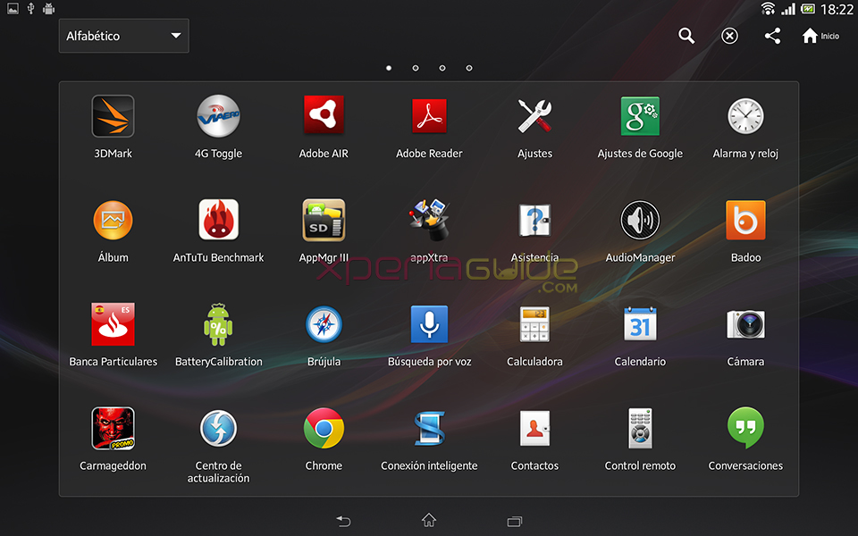 MENU Option Screenshot - Xperia Tablet Z SGP321 Android 4.2.2 10.3.1.A.0.244 firmware