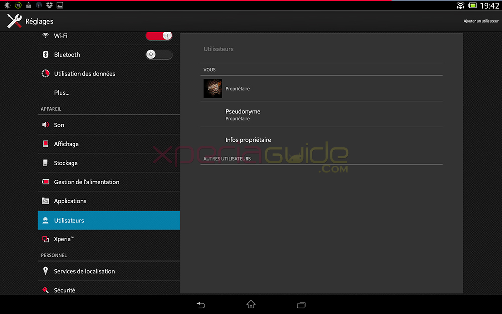 Multi user support in Xperia Tablet Z SGP311 Android 4.2.2 10.3.1.C.0.136 firmware