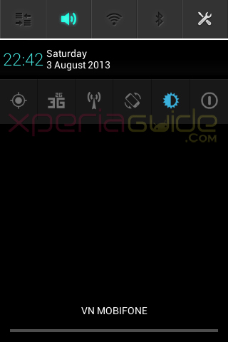 New Notification Panel in Xperia E C1505 Android 4.1.1 11.3.A.2.13 firmware