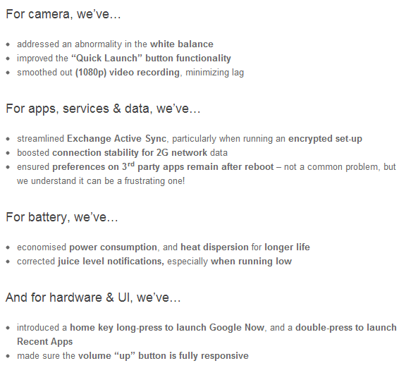 Official Changelog from Sony on 6.2.B.1.96 firmware Update