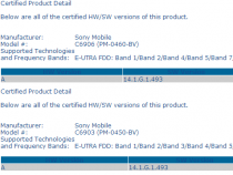 PTCRB Certified first Xperia Honami C6903 C6906 14.1.G.1.493 firmware