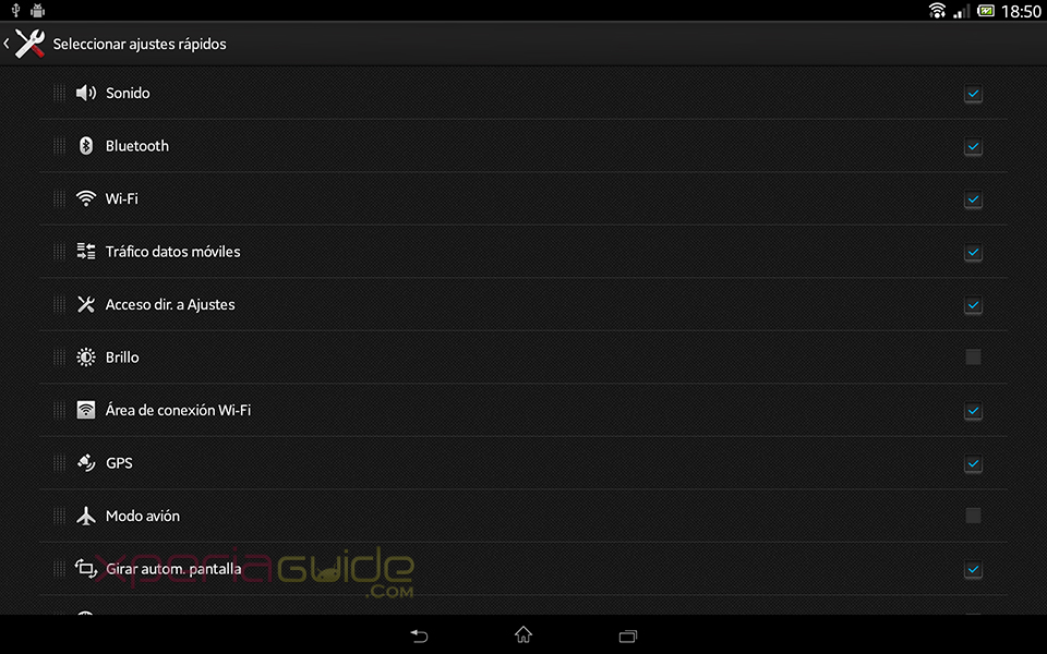 Quck Settings screenshot - Xperia Tablet Z SGP321 Android 4.2.2 10.3.1.A.0.244 firmware