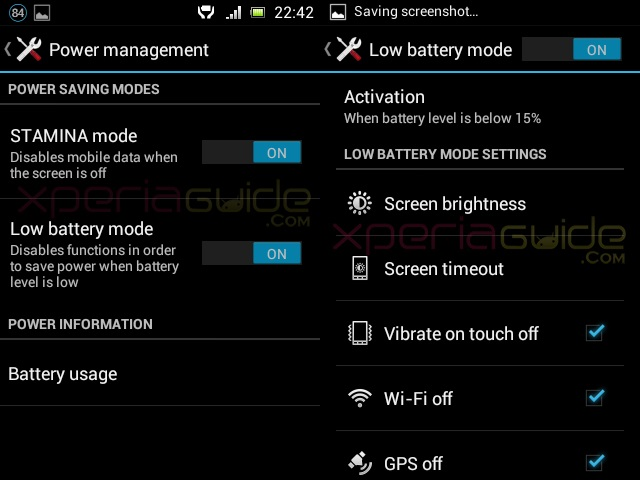 STAMINA MODE in Xperia E C1505 Android 4.1.1 11.3.A.2.13 firmware