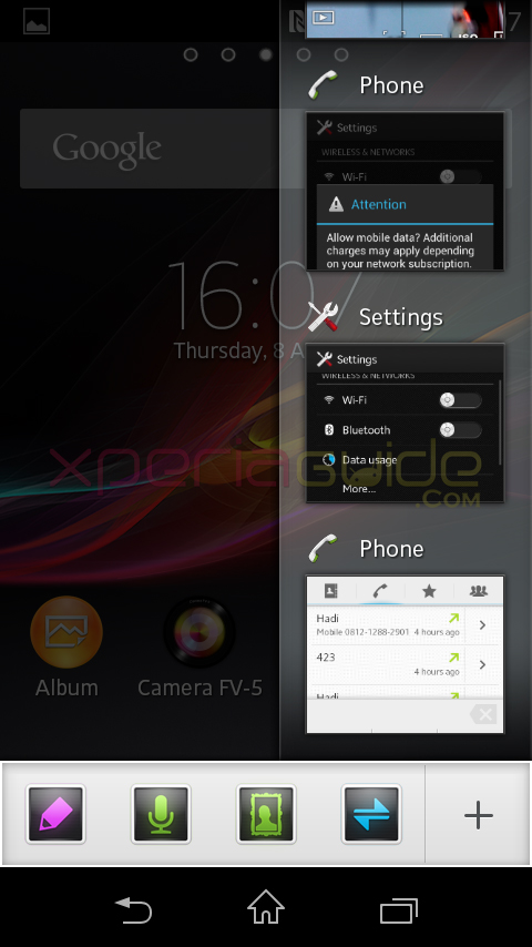 Small apps drawer in Xperia L C2105, C2104 Android 4.1.2 15.0.A.2.17 firmware update