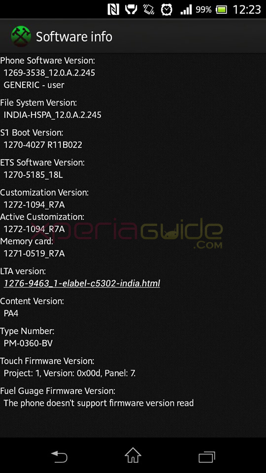 Software Customization info of Xperia SP C5302 Android 4.1.2 12.0.A.2.245 firmware Update