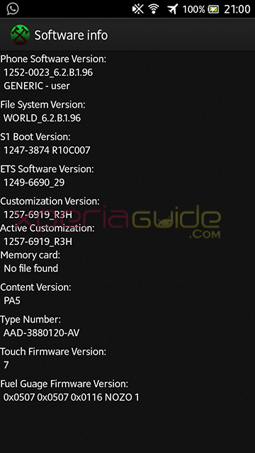 Software Info of Xperia S LT26i ,SL, Acro S LT26w 6.2.B.1.96 firmware