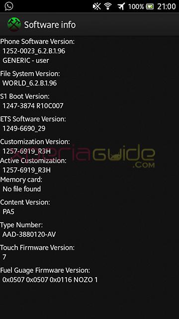 Software Info of Xperia S LT26i ,SL, Acro S LT26w 6.2.B.1.96 firmware