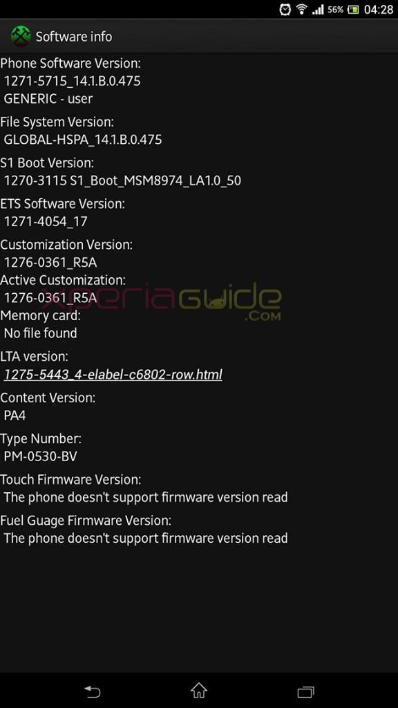 Software info of Xperia Z Ultra C6802 Minor 14.1.B.0.475 firmware update
