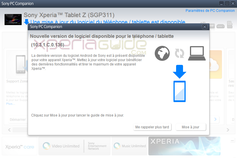 Sony  Xperia Tablet Z SGP311 Android 4.2.2 10.3.1.C.0.136 firmware update via PCC