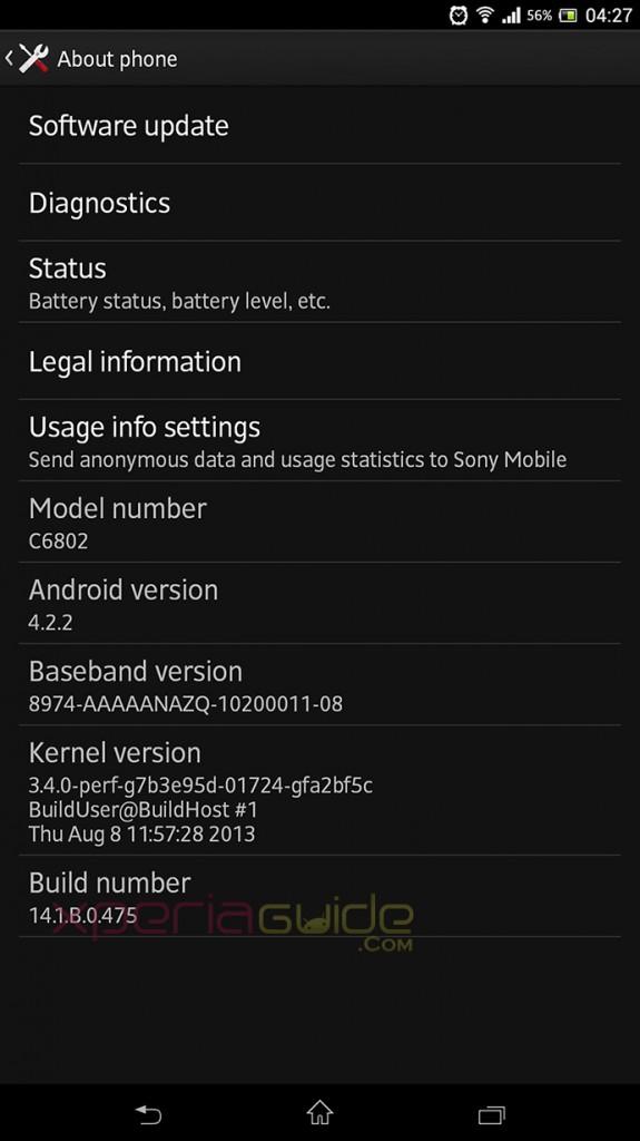 Sony Xperia Z Ultra C6802 Minor 14.1.B.0.475 firmware