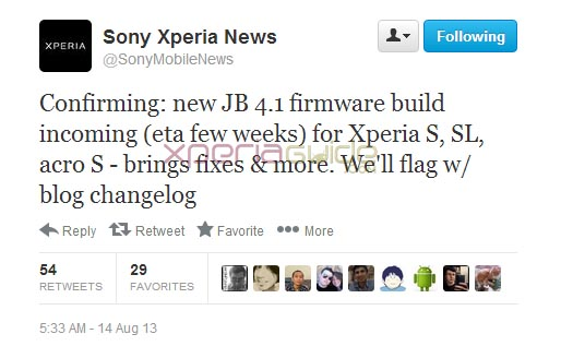 Sony confirms Bug Fixing Android 4.1.2 Jelly Bean update coming for Xperia S, SL, Acro S. ETA - a few weeks