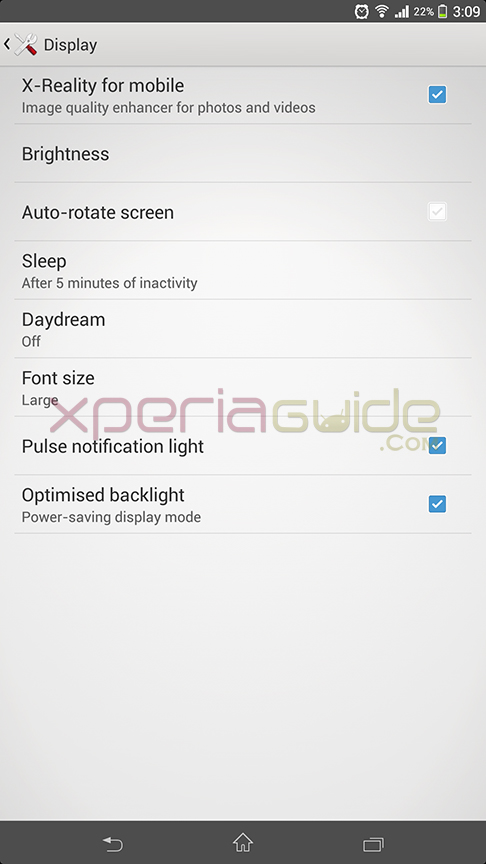 X-Reality for mobile in display settings in Xperia Z Ultra C6802 14.1.B.1.510 firmware