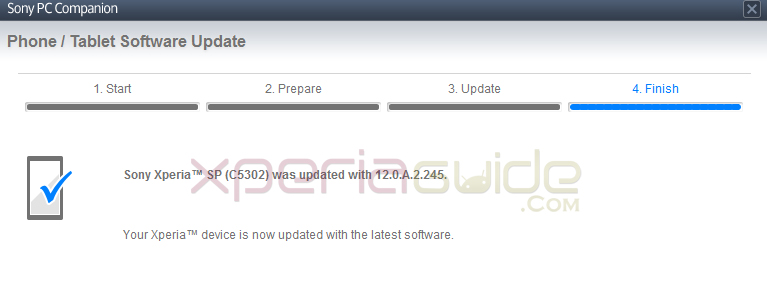 Xperia C5303 on Android 4.1.2 12.0.A.2.245 firmware via PC Companion