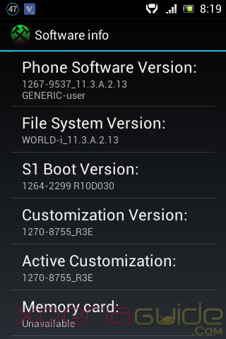 Xperia E Android 4.1.1 11.3.A.2.13 firmware customization info