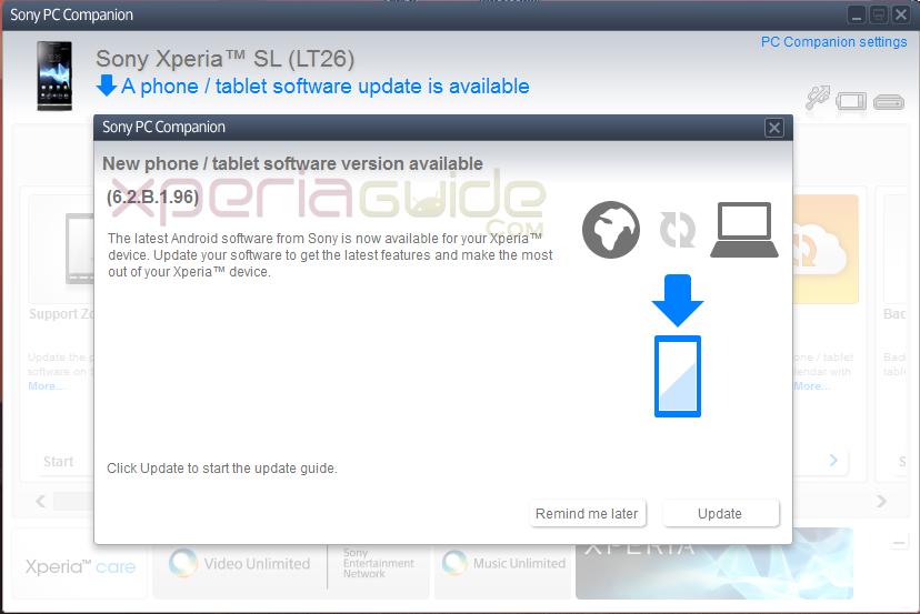Xperia SL LT26ii 6.2.B.1.96 firmware update via PC Companion
