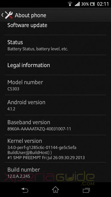 Xperia SP C5303 Android 4.1.2 12.0.A.2.245 firmware update Details About Phone screenshot