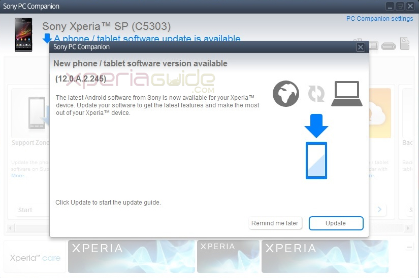 Xperia SP C5303 Android 4.1.2 12.0.A.2.245 firmware update via PC Companion