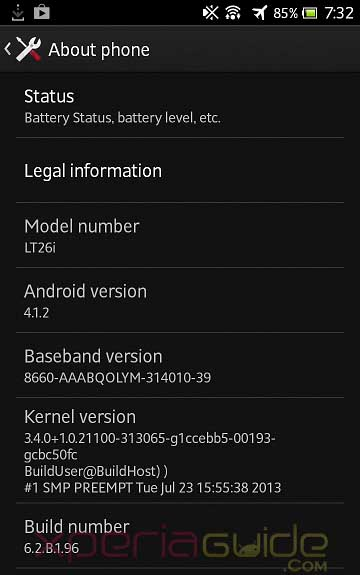 Xperia S,SL,Acro S 6.2.B.1.96 firmware details