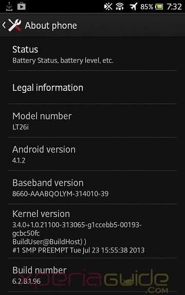 Xperia S,SL,Acro S 6.2.B.1.96 firmware details
