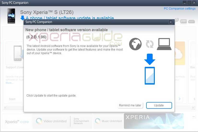 Xperia S,SL,Acro S 6.2.B.1.96 firmware update via PC Companion