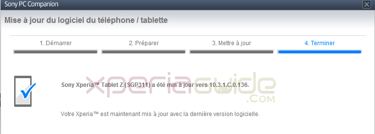 Xperia Tablet Z SGP311 Android 4.2.2 10.3.1.C.0.136 firmware update via PCC
