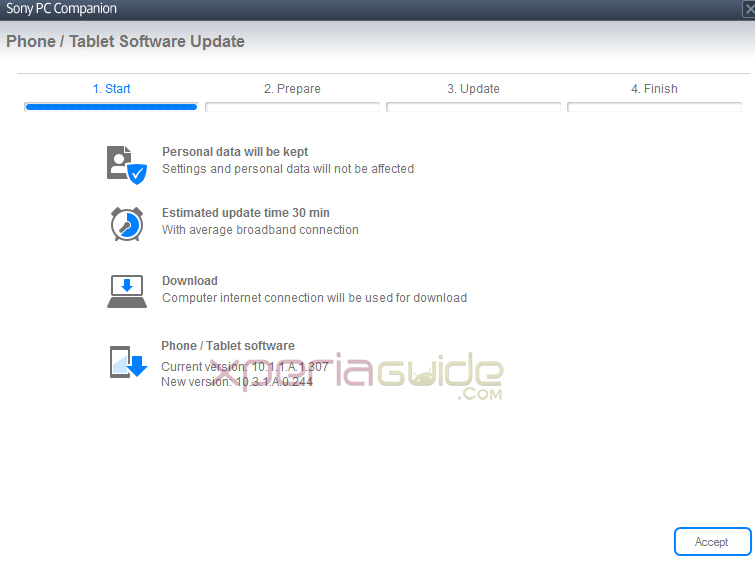 Xperia Tablet Z SGP321 Android 4.2.2 10.3.1.A.0.244 firmware by PC Companion software
