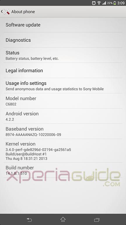 Xperia Z Ultra C6802 14.1.B.1.510 firmware update details