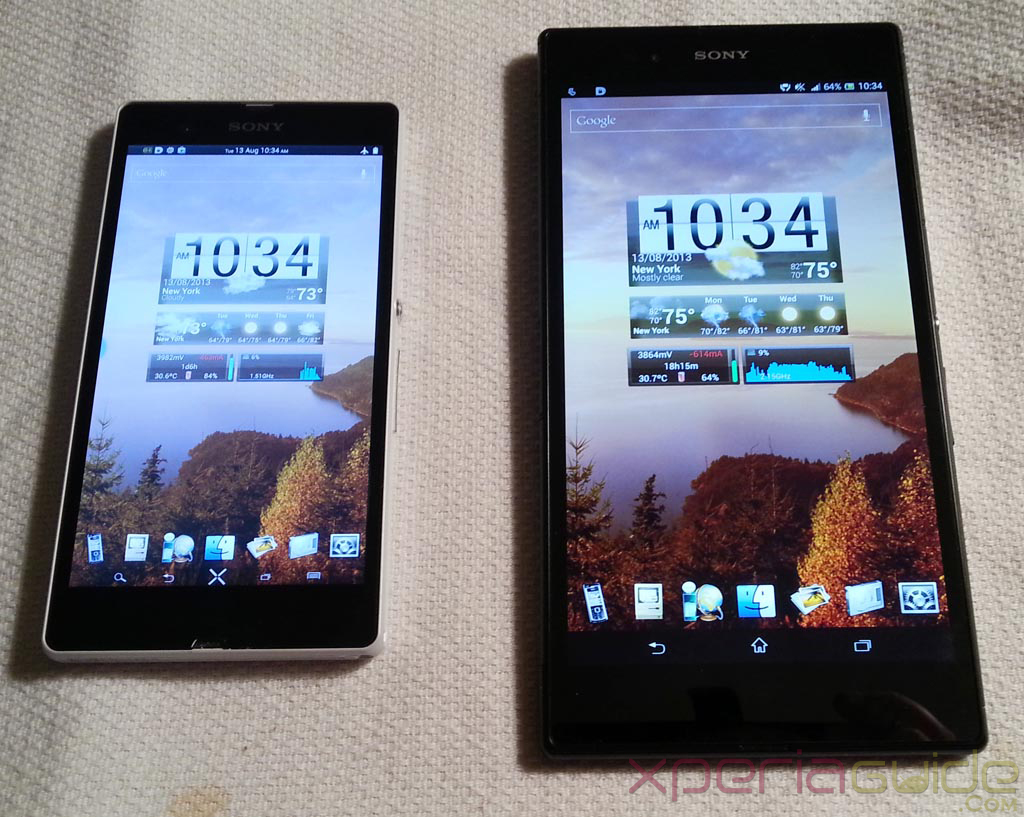 Xperia Z Ultra Vs Xperia Z - Home Scree layout Comparison