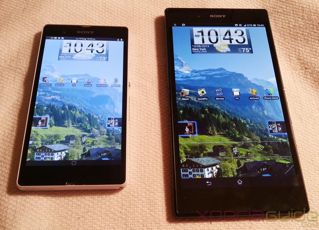 Xperia Z Ultra Vs Xperia Z - LockScreen layout comparison