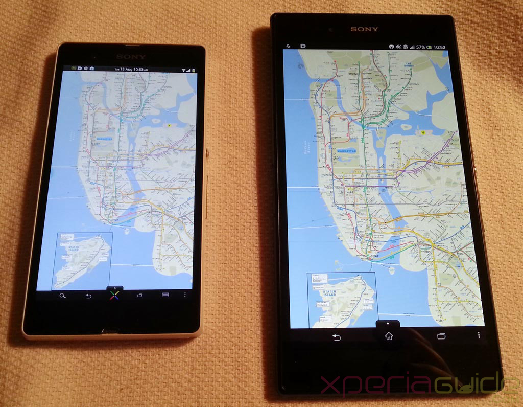 Xperia Z Ultra Vs Xperia Z - Maps layout comparison