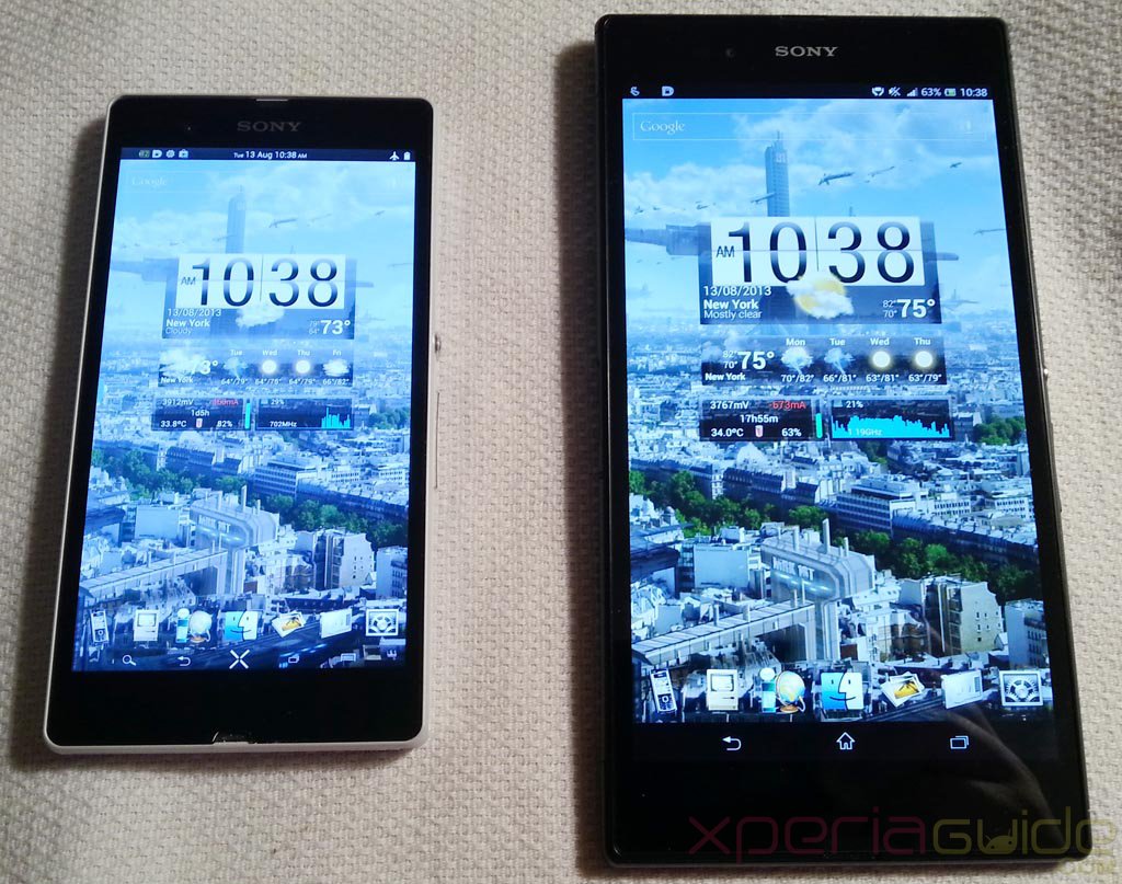 Xperia Z Ultra Vs Xperia Z - Similar City Wallpaper Display comparison