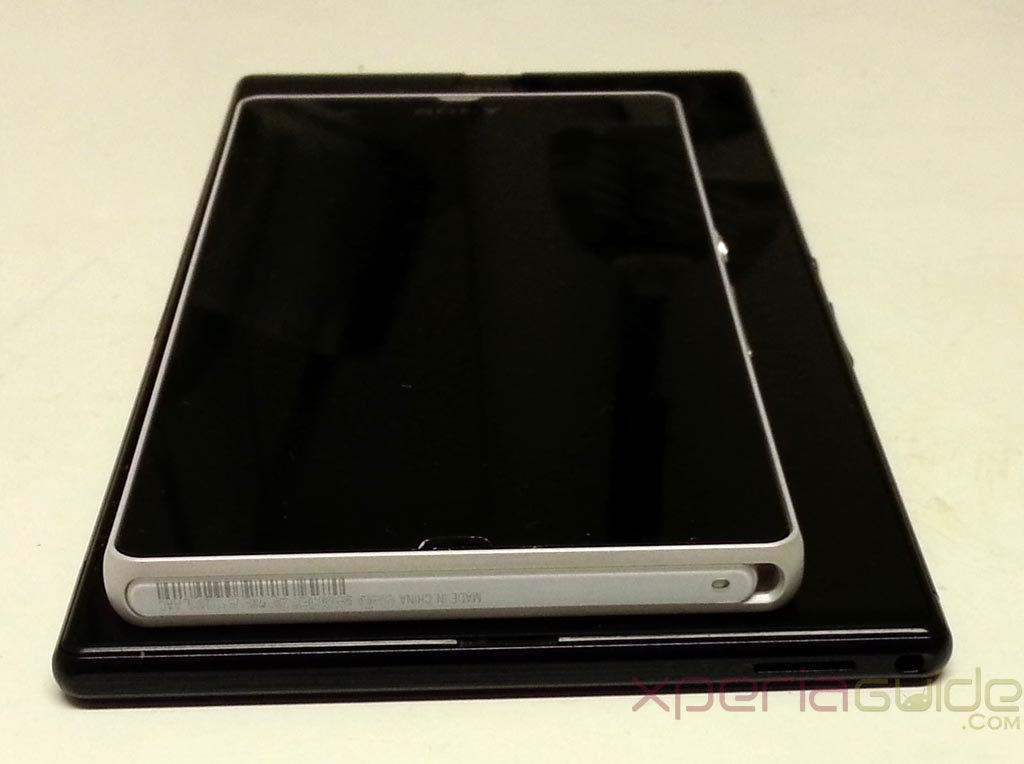 Xperia Z Ultra Vs Xperia Z Size Comparison - Top profile