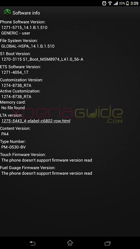 software info of Xperia Z Ultra C6802 14.1.B.1.510 firmware