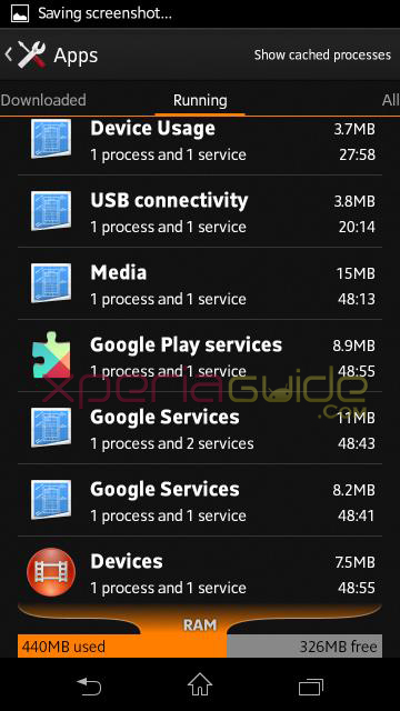 766 MB RAM available in Xperia SP 12.0.A.2.254 firmware update