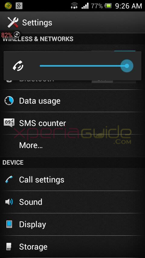 Settings option in Xperia J ST26i 11.2.A.0.33 firmware
