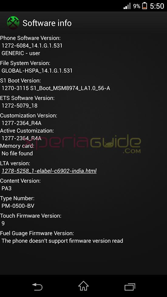 Software info of 14.1.G.1.531 Firmware