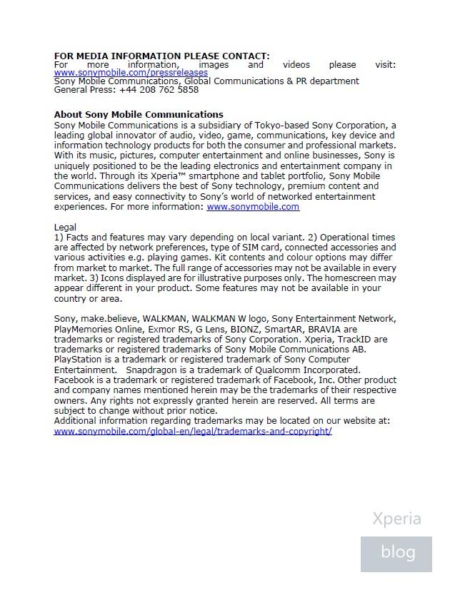 Sony Xperia Z1 press release leaked 10
