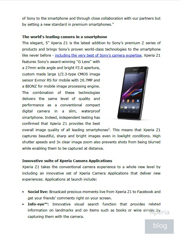 Sony Xperia Z1 press release leaked 2