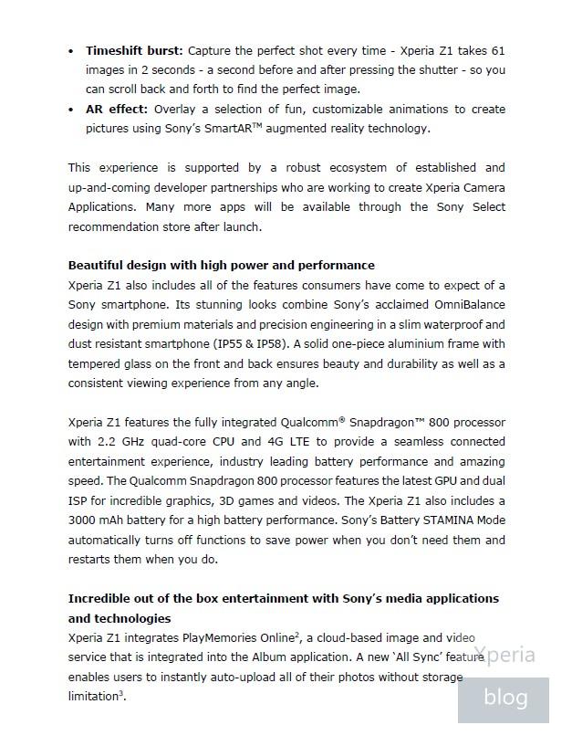 Sony Xperia Z1 press release leaked 3