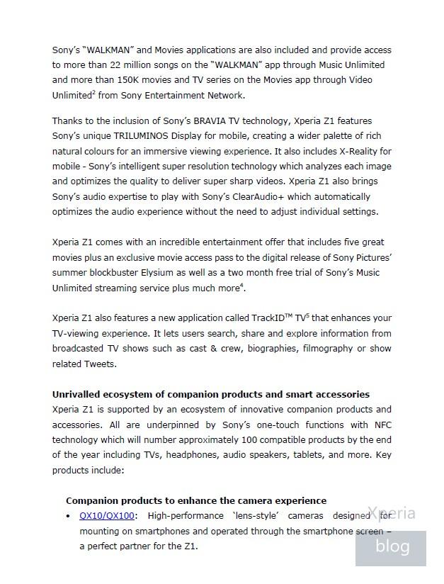 Sony Xperia Z1 press release leaked 4