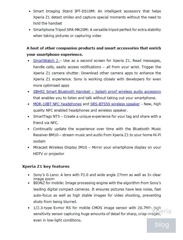 Sony Xperia Z1 press release leaked 5