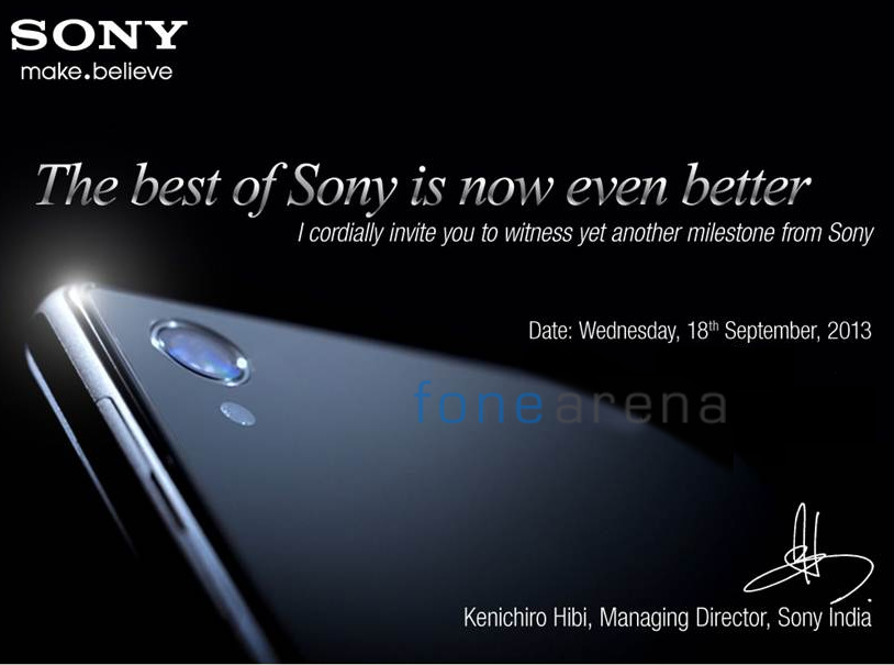 Xperia Z1 Launch in India on 18 September