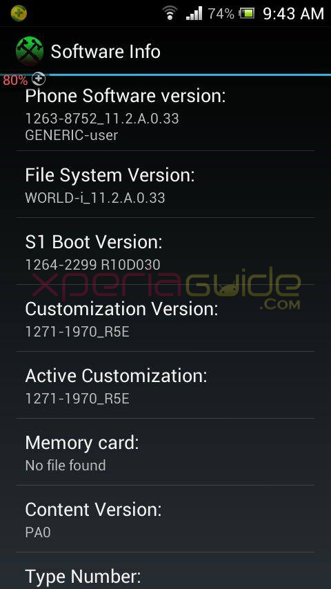 Xperia J ST26i 11.2.A.0.33 firmware Software Info